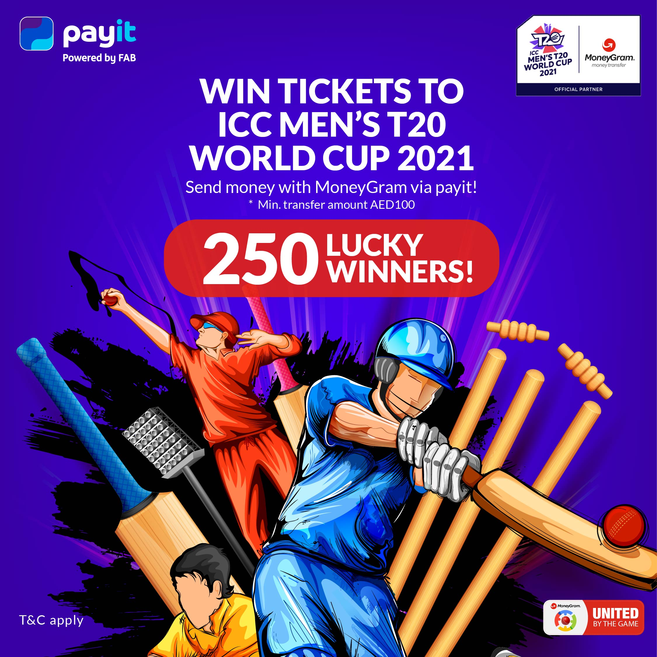 USE MoneyGram PAYIT AND Win a Ticket to Watch Live Cricket